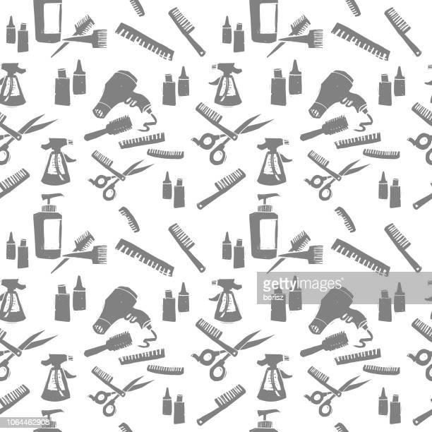 ilustrações de stock, clip art, desenhos animados e ícones de salon objects. seamless background pattern. - cortar cabelo