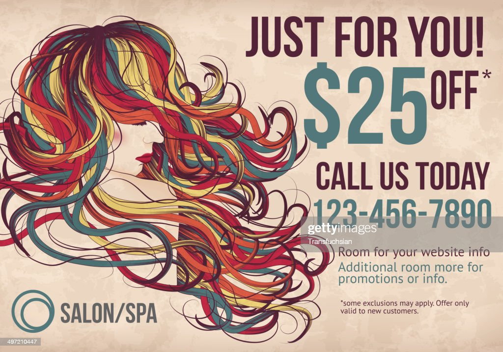 Salon postcard with coupon discount advertisement