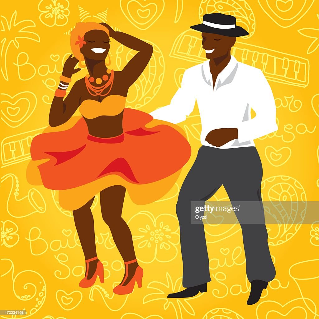Salsa dancers vector illustration