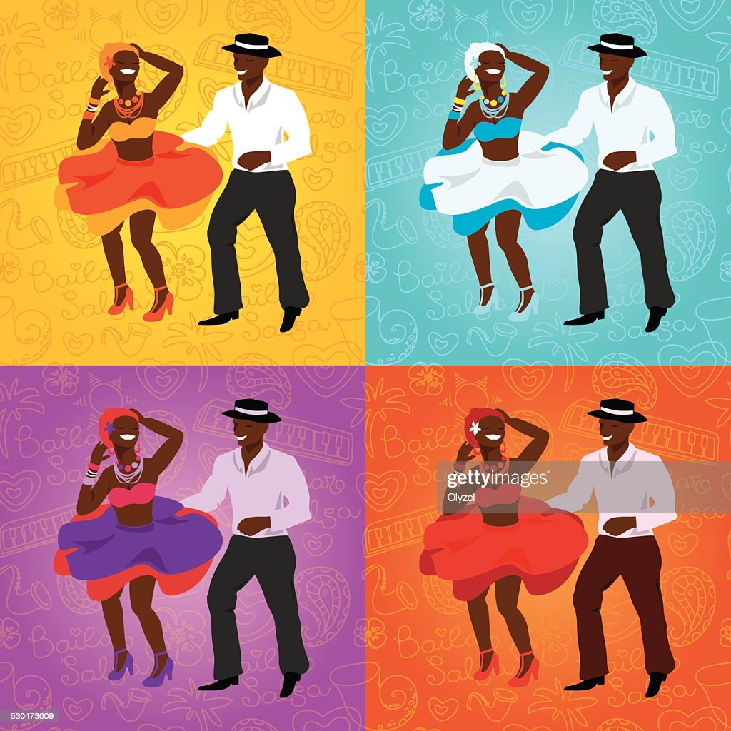 Salsa dancing poster for the party. Cuban couple, palms, musical