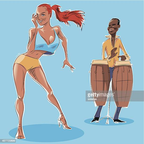 salsa dancing - cuban culture stock illustrations, clip art, cartoons, & icons