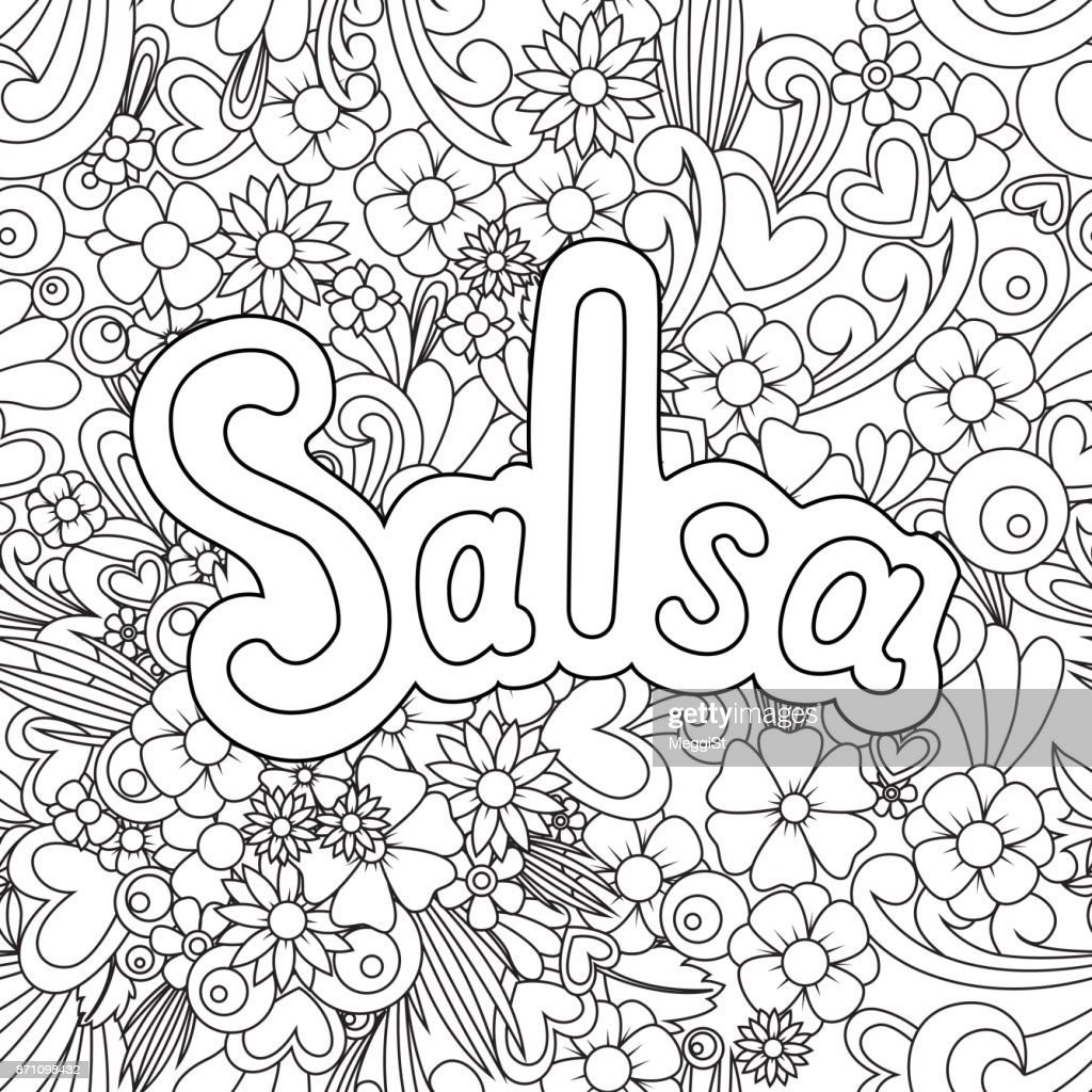 Salsa Zen Tangle. Doodle background with flowers and text for the partner dancing.