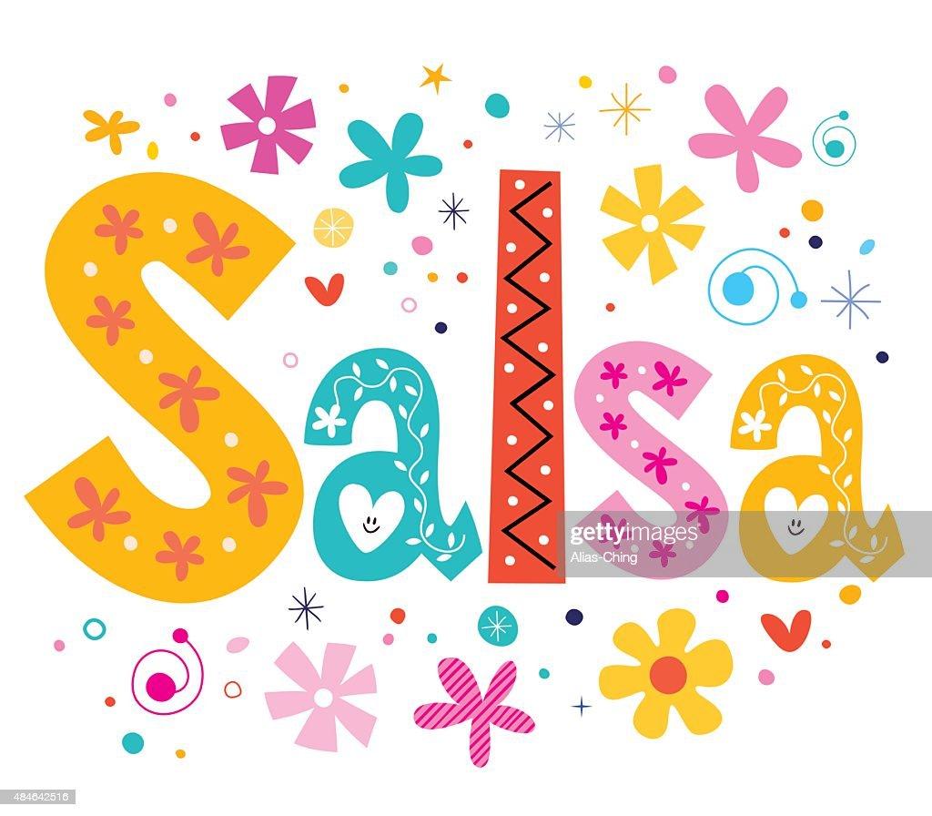 salsa vector lettering decorative type
