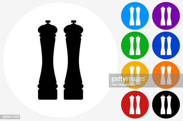 Salt and Pepper Shaker Icon on Flat Color Circle Buttons