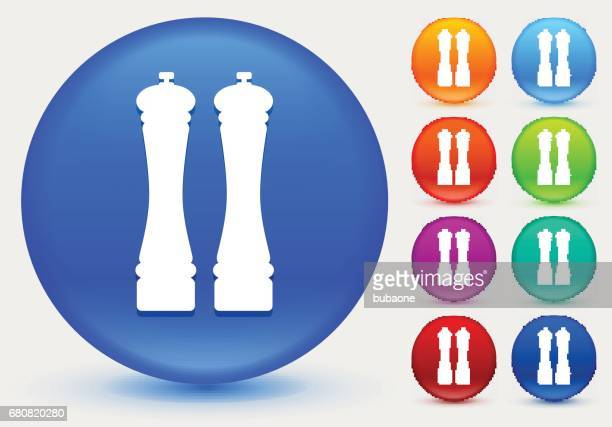 Salt and Pepper Shaker Icon on Shiny Color Circle Buttons