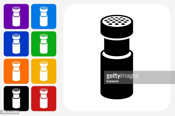 Salt and Pepper Shaker Icon Square Button Set
