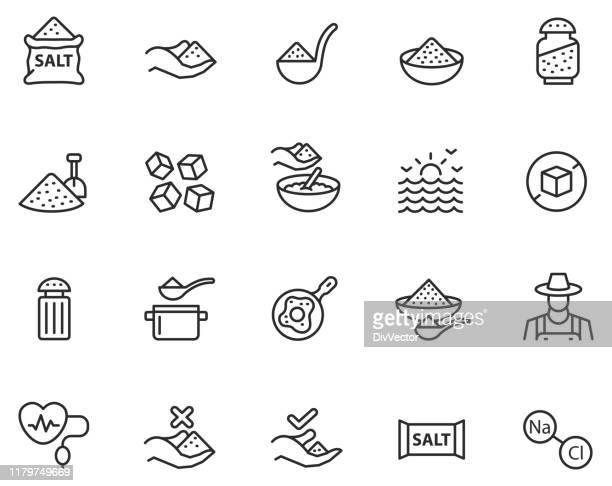 salt icon set - salt mineral stock illustrations