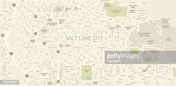 salt lake city downtown map - utah stock illustrations, clip art, cartoons, & icons