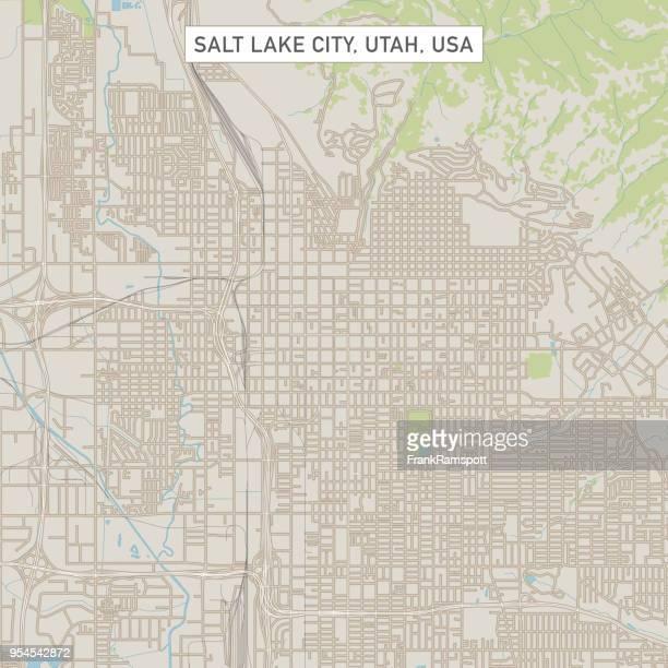 salt lake city utah us city street map - salt lake city utah stock illustrations