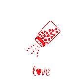 Salt shaker with hearts inside. Card