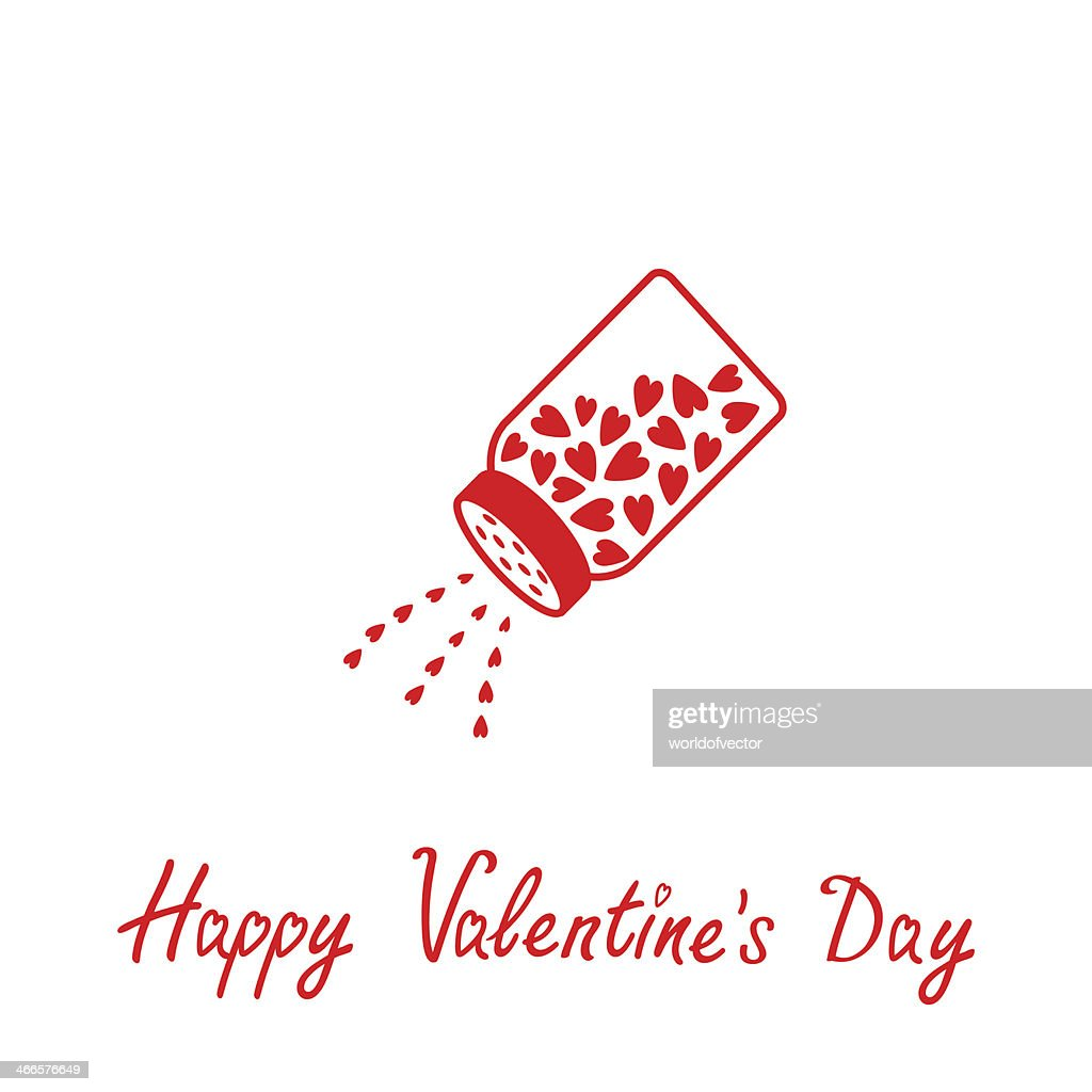 Salt Shaker With Hearts Inside Happy Valentines Day Vector Art