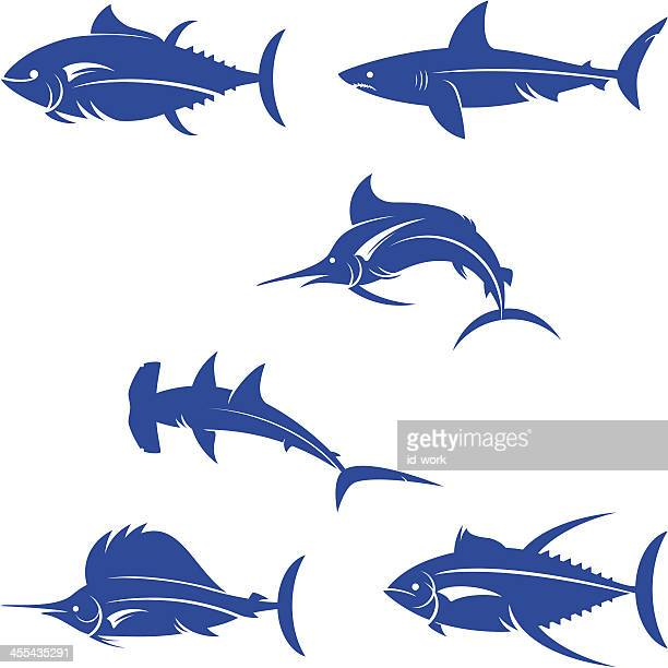 saltwater game fishes silhouette - marlin stock illustrations, clip art, cartoons, & icons