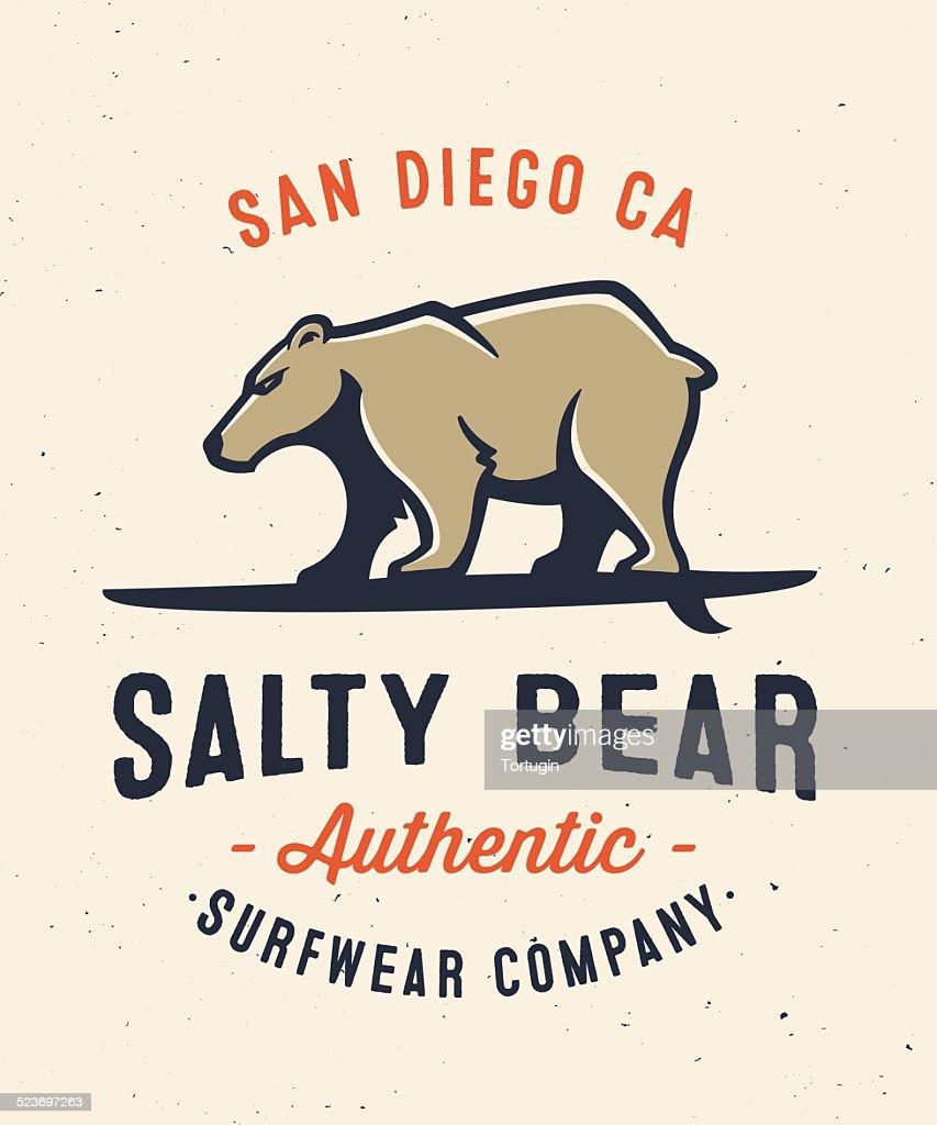 Salty bear surfing apparel graphic tee design