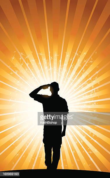 salute background - military soldier, boy scout. armed forces - saluting stock illustrations
