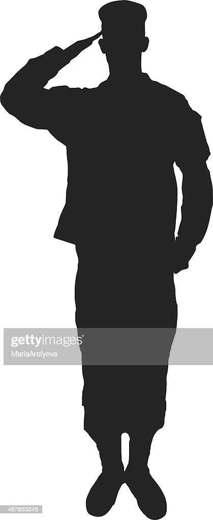 Saluting army soldier's silhouette on white