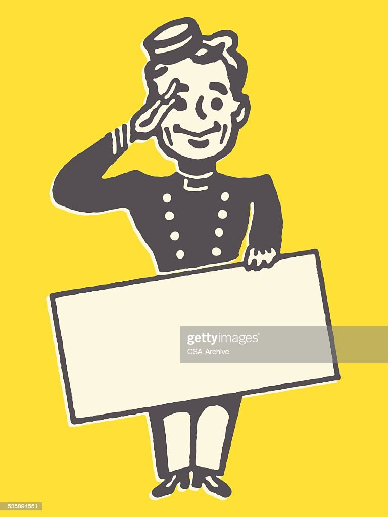 Saluting Bellhop with Blank Sign : Vector Art