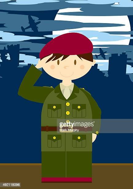Soldat saluant de la scène
