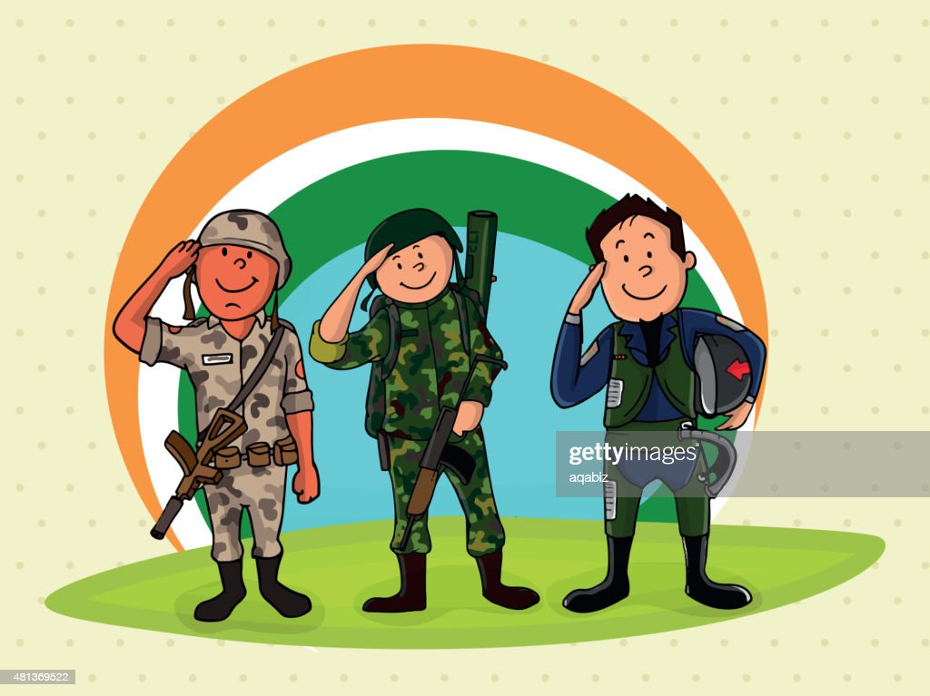 Saluting officers for Indian Independence Day.