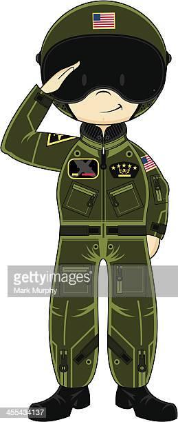 usaf saluting pilot in helmet - helmet visor stock illustrations, clip art, cartoons, & icons