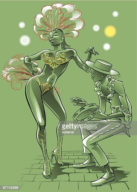 ilustrações de stock, clip art, desenhos animados e ícones de dançarina de samba - pandeiro
