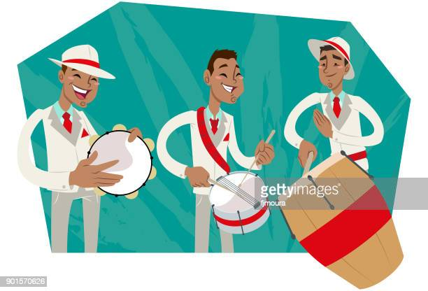 bateria de escola de samba - samba stock illustrations
