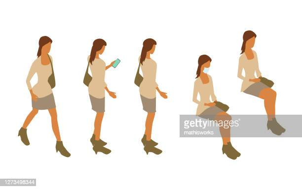 same woman standing, sitting, and walking illustration - mathisworks stock illustrations