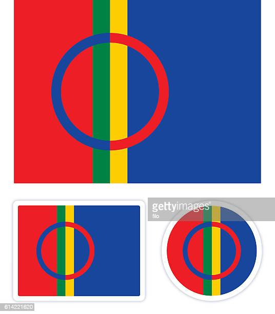 stockillustraties, clipart, cartoons en iconen met sami flag - samen