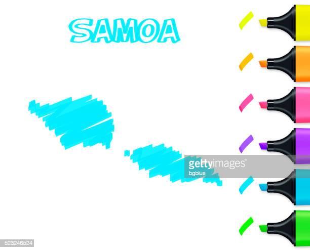 samoa map hand drawn on white background, blue highlighter - samoa stock illustrations, clip art, cartoons, & icons