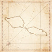Samoa map in retro vintage style - old textured paper