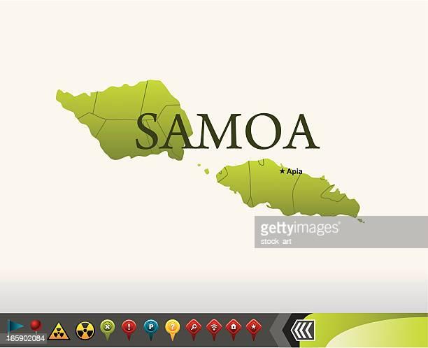 samoa map with navigation icons - samoa stock illustrations, clip art, cartoons, & icons