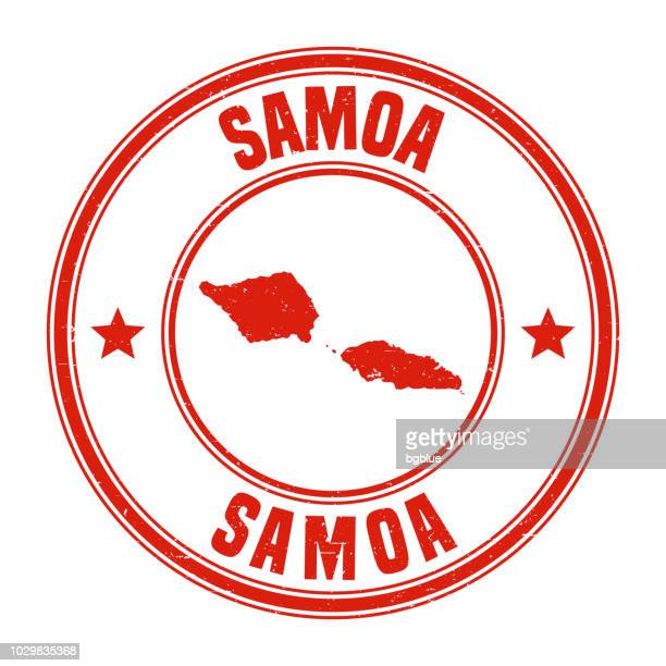 samoa - red grunge rubber stamp with name and map - samoa stock illustrations, clip art, cartoons, & icons