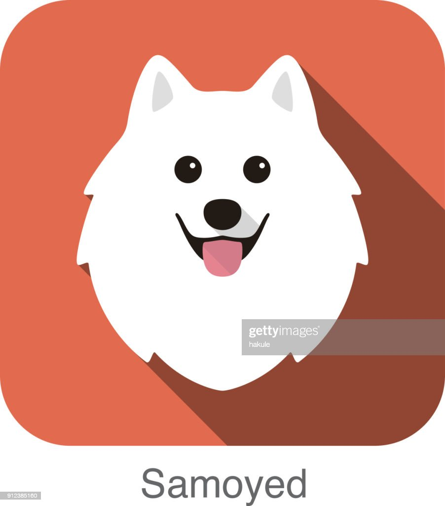Samoyed Dog Face Flat Icon Design Vector Illustration High Res Vector Graphic Getty Images