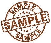 sample brown grunge round vintage rubber stamp