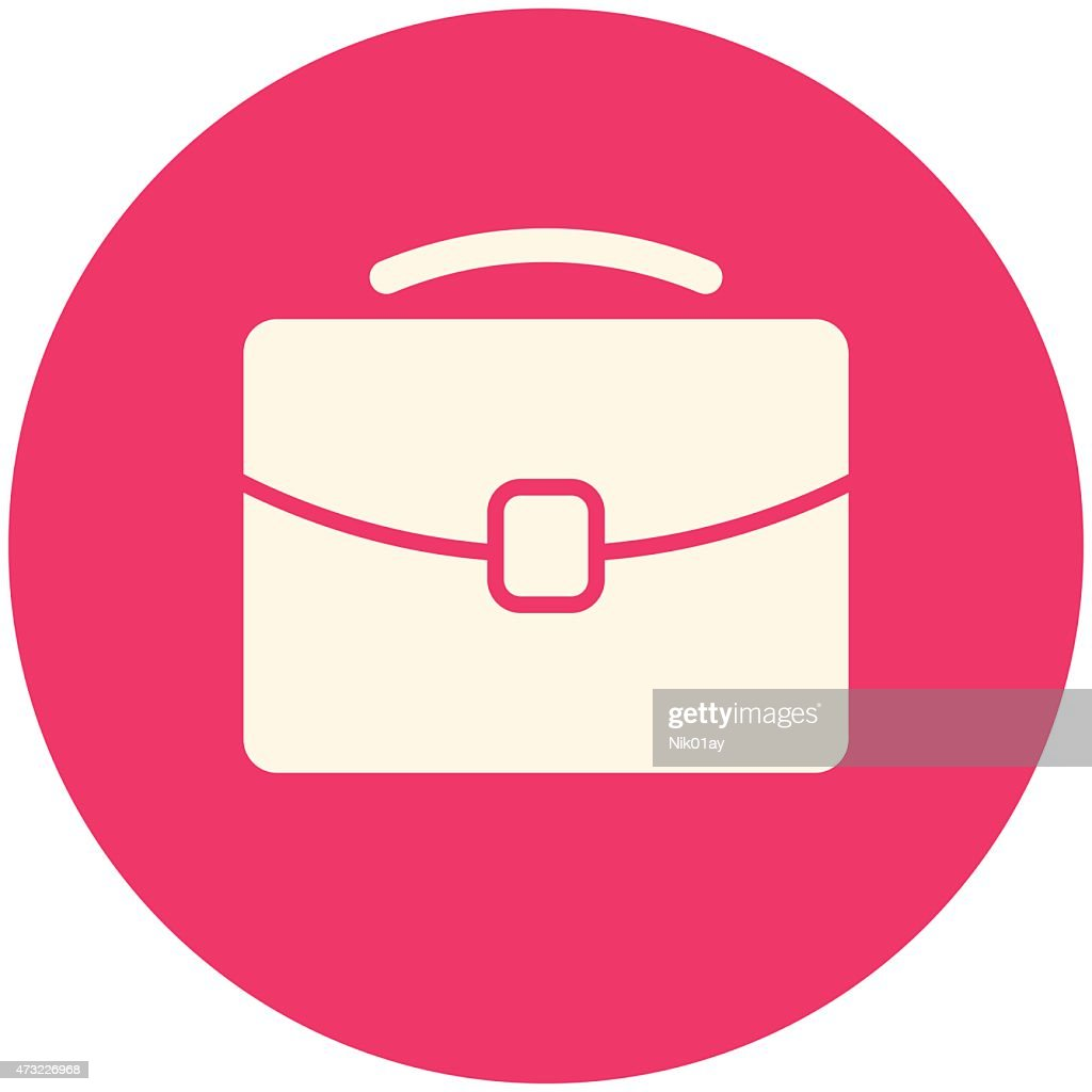 A sample icon of a briefcase in a pink background