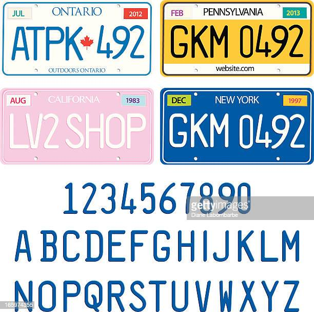 sample license plates with alphabet and numbers vector set - customised stock illustrations
