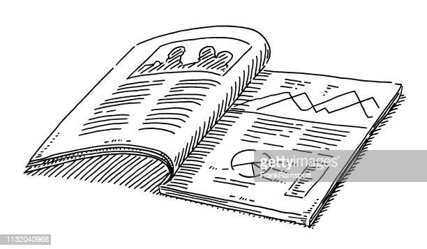 sample print magazine drawing - magazine stock illustrations