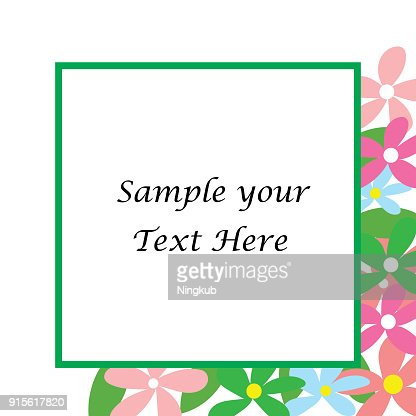 Sample Your Text Here Card With Colorful Flower In Frame Wallpaper Or Background Vector Art