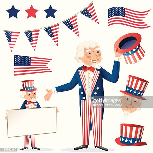 sams flags and hats - president stock illustrations, clip art, cartoons, & icons