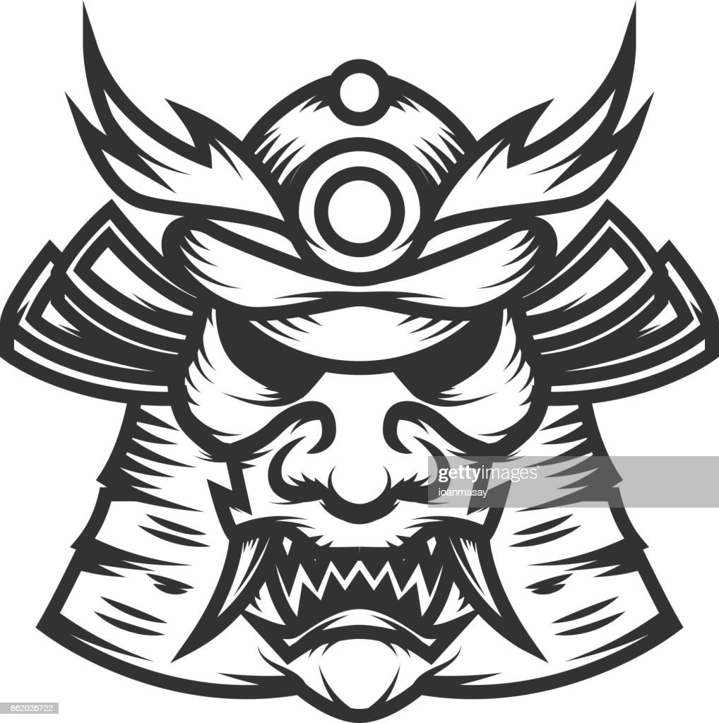 Samurai helmet illustration on white background. Design element for label,emblem, sign. Vector illustration
