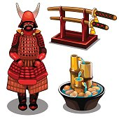 Samurai, katana on stand and decorative fountain