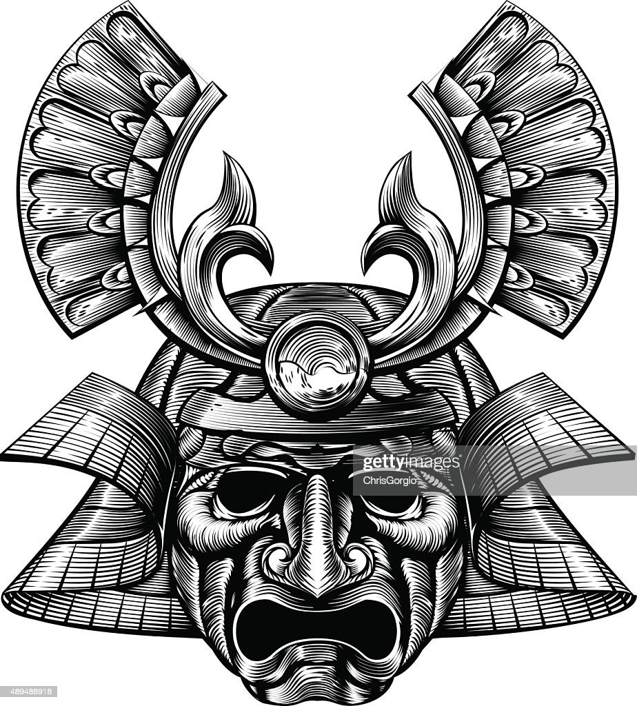 Samurai Mask Woodblock Style