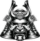 Samurai Mask Woodcut Style