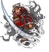 Samurai Slashing Through Background Vector Illustration