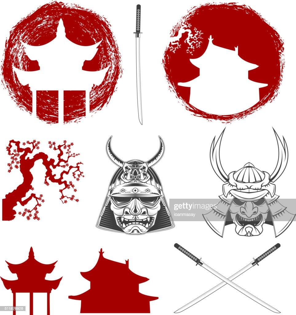 Samurai. Vector design elements set