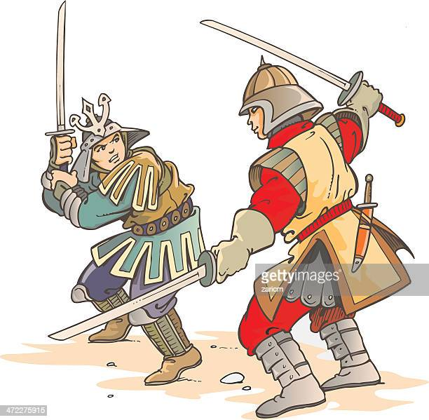 samurai - dueling stock illustrations, clip art, cartoons, & icons