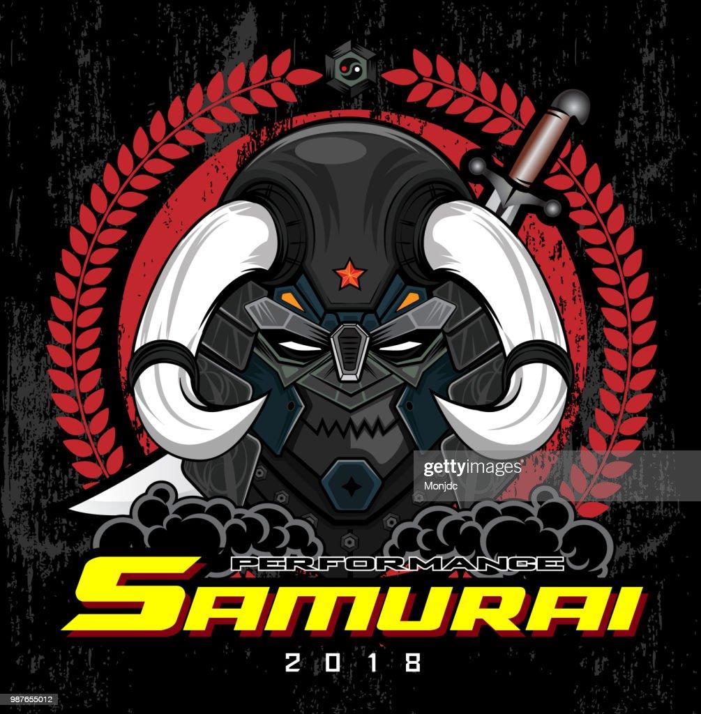 samurai vector logo design illustration template