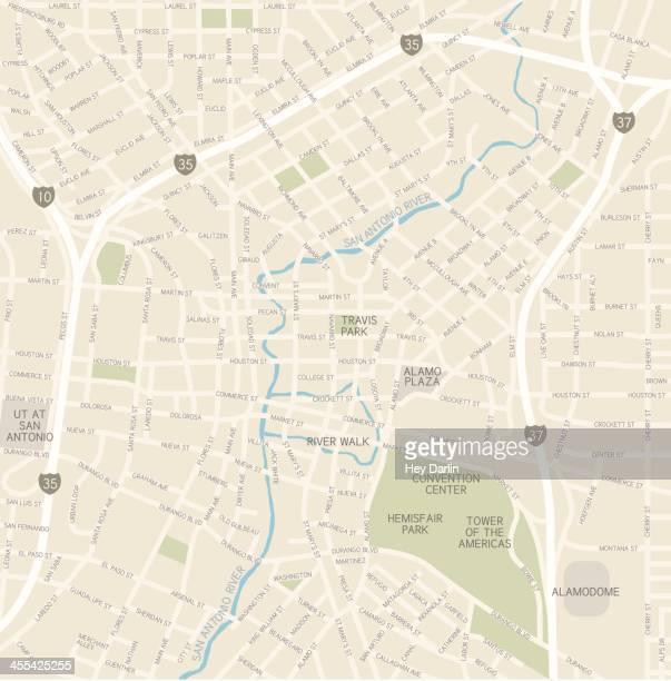 san antonio downtown map - san antonio texas stock illustrations