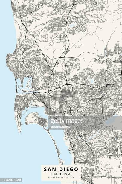 ilustrações de stock, clip art, desenhos animados e ícones de san diego, california, usa vector map - san diego