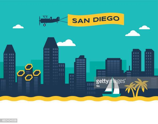 san diego skyline - biplane stock illustrations, clip art, cartoons, & icons