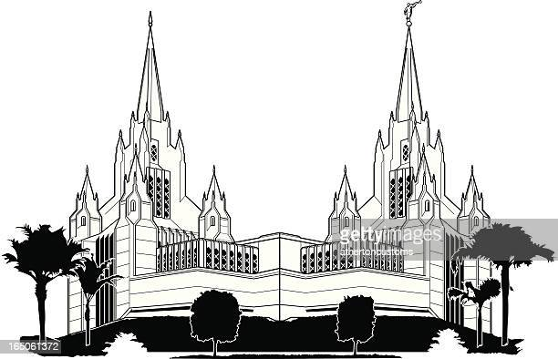san diego temple - temple building stock illustrations, clip art, cartoons, & icons